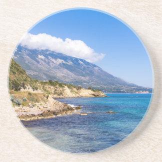 Mountains at coast  with sea in Kefalonia Greece Sandstone Coaster