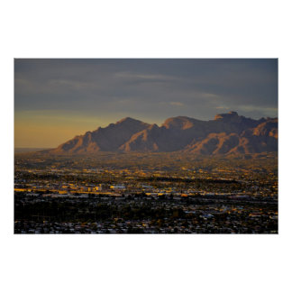 Mountains at dusk poster