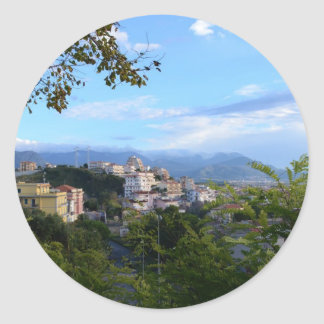 Mountains Behind Scalea Classic Round Sticker