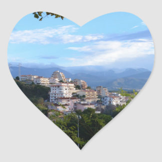 Mountains Behind Scalea Heart Sticker