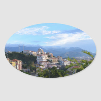 Mountains Behind Scalea Oval Sticker