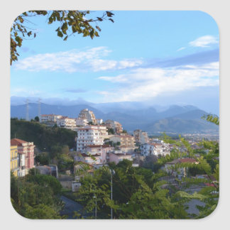 Mountains Behind Scalea Square Sticker