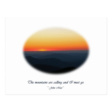 Mountains Calling/Smokies Sunset Oval Post Card