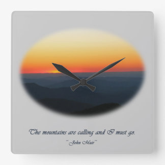 Mountains Calling/Smokies Sunset Oval Square Wall Clock