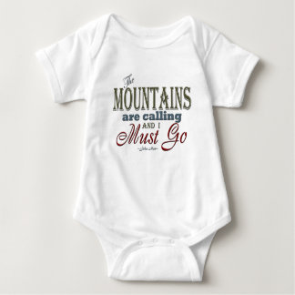 Mountains Calling Typography Quote - John Muir Baby Bodysuit