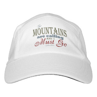 Mountains Calling Typography Quote - John Muir Headsweats Hat