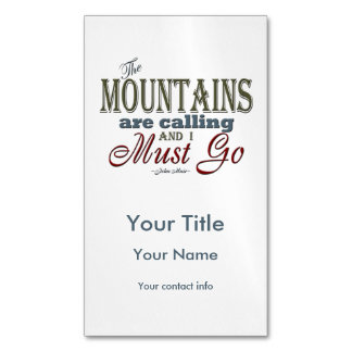 Mountains Calling Typography Quote - John Muir Magnetic Business Cards (Pack Of 25)
