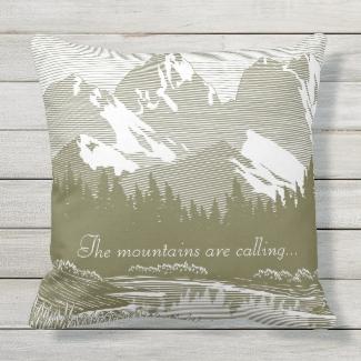 Mountains Design Outdoor Pillow