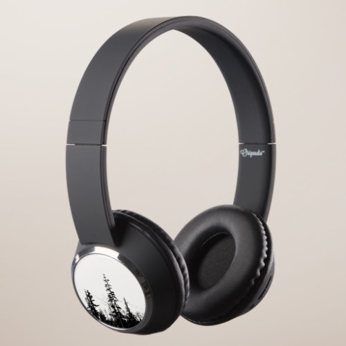 Mountains Forest Woodland Trees Winter Black White Headphones