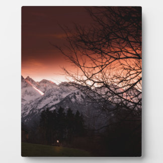 Mountains in sunset plaque