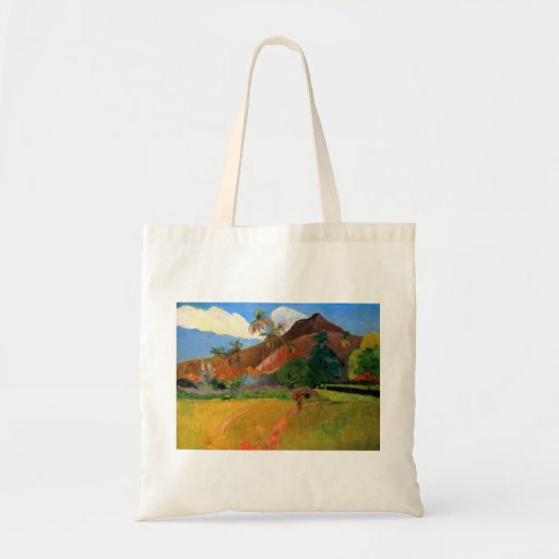 Mountains in Tahiti Gauguin painting warm colorful Budget Tote Bag