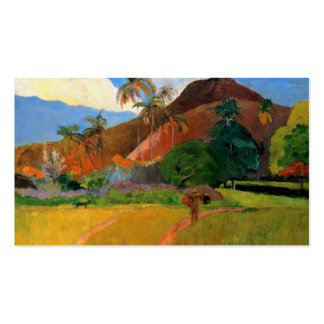 Mountains in Tahiti Gauguin painting warm colorful Double-Sided Standard Business Cards (Pack Of 100)