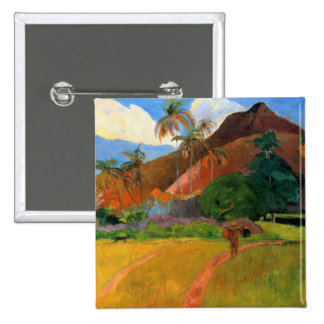 Mountains in Tahiti Gauguin painting warm colorful Pinback Button