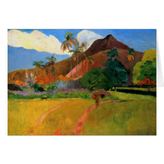 Mountains in Tahiti Gauguin painting warm colorful Greeting Card