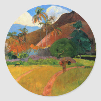 Mountains in Tahiti Gauguin painting warm colorful Classic Round Sticker