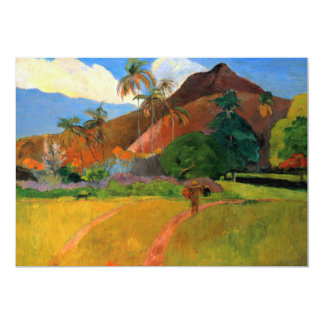 Mountains in Tahiti Gauguin painting warm colorful 5x7 Paper Invitation Card