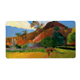 Mountains in Tahiti Gauguin painting warm colorful Label