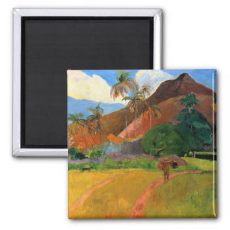Mountains in Tahiti Gauguin painting warm colorful 2 Inch Square Magnet