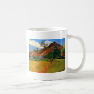 Mountains in Tahiti Gauguin painting warm colorful Classic White Coffee Mug
