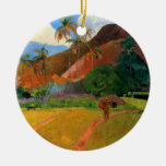 Mountains in Tahiti Gauguin painting warm colorful Christmas Tree Ornament