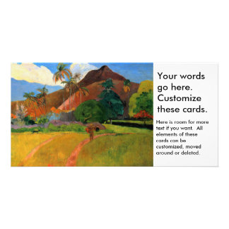 Mountains in Tahiti Gauguin painting warm colorful Photo Card