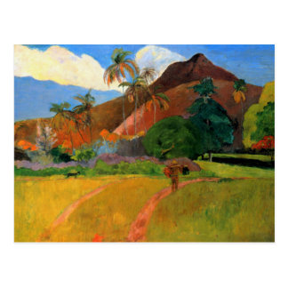 Mountains in Tahiti Gauguin painting warm colorful Postcard
