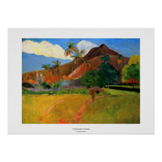 Mountains in Tahiti Gauguin painting warm colorful Poster