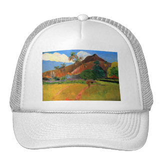Mountains in Tahiti Gauguin painting warm colorful Trucker Hat