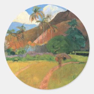 Mountains in Tahiti - Paul Gauguin Classic Round Sticker