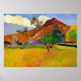 'Mountains in Tahiti' - Paul Gauguin Print