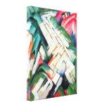 Mountains Landscape by Franz Marc Vintage Cubism Stretched Canvas Print