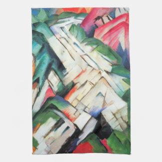 Mountains Landscape by Franz Marc, Vintage Cubism Hand Towel