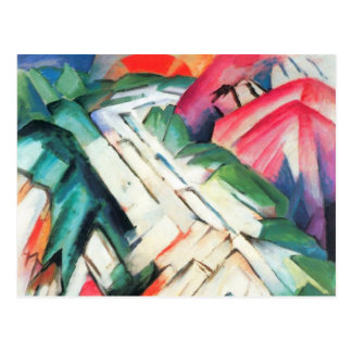 Mountains Landscape by Franz Marc, Vintage Cubism Postcard