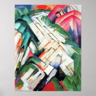 Mountains Landscape by Franz Marc Vintage Cubism Posters