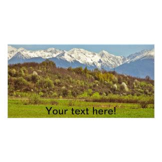 Mountains landscape photo card template