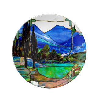 Mountains Landscape Stained Glass Window Art Porcelain Plate