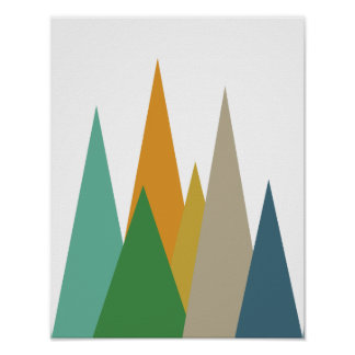 Mountains Mid Century Modern Retro Poster