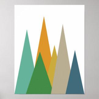 Mountains Mid Century Modern Retro Poster