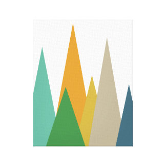 Mountains Mid Century Modern Wrapped Canvas Print