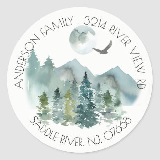 Mountains   New Home Address Label Sticker
