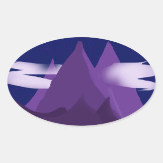 Mountains Oval Sticker