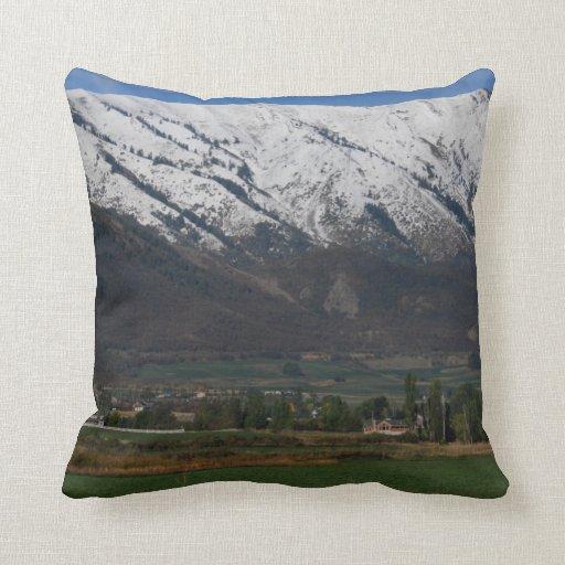 Mountains Overlooking Wellsville Throw Pillows