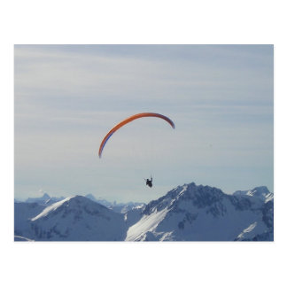 mountains paragliding fly to freedom and success postcard