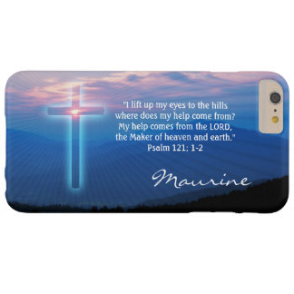 Mountains photo and cross. Psalm 121; 1-2 Barely There iPhone 6 Plus Case
