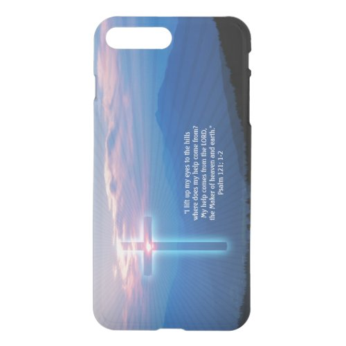Mountains photo and cross. Psalm 121; 1-2 Phone Case