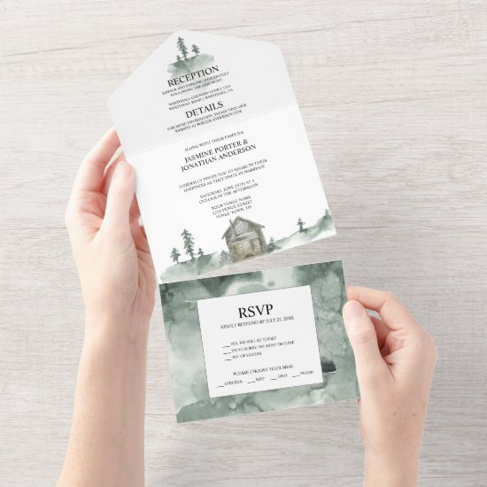 Mountains, Pine Trees, Cabin Rustic Wedding   All In One Invitation