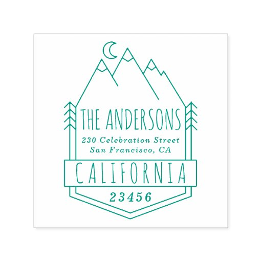 Mountains & Pine Trees Rustic Return Address Self-inking Stamp