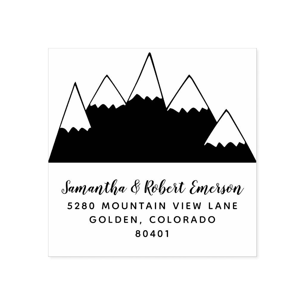 Mountains Return Address Rubber Stamp