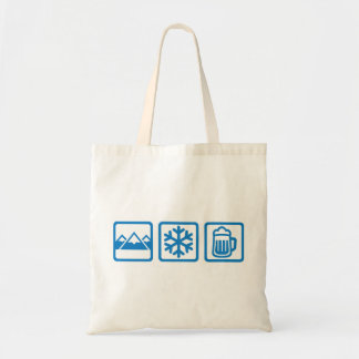 Mountains snow beer tote bag