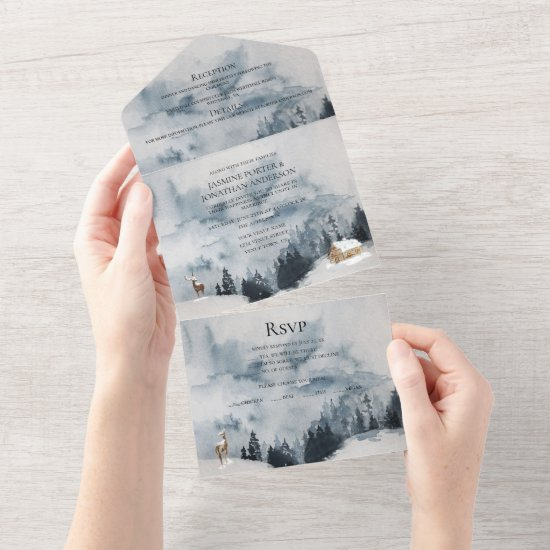 Mountains, Snow, Forest, Cabin Wedding   All In One Invitation